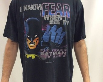 Vintage 1997 Batman I Know Fear When I See It Six Flags The Ride T shirt