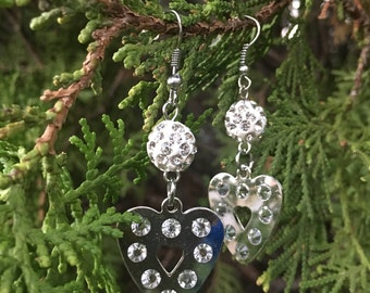 Silver and Gold Heart Earrings with small rhinestones (2 colors--Silver & Gold), Valentine's Day Earrings, Valentine's Day Gifts