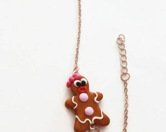 Bracelet polymer clay gingerbread