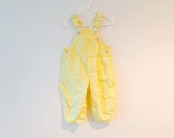 Vintage Baby Girl Yellow Bib Overalls / 80's 90's Child's Toddler All Cotton Pants / Size 18 Mos.