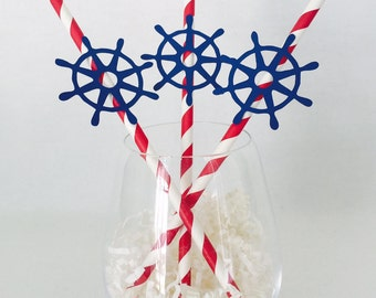12 Ship's Wheel Party Straws - Nautical - Bridal Shower - Birthday - Baby Shower - Last Sail Before the Veil - Ocean - Boat - Red and Navy