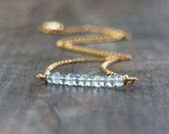 Aquamarine Bar Necklace in Sterling Silver&Gold, March Birthstone, Minimal Gemstone Necklace, Aquamarine Jewelry, Birthday Gift for Her