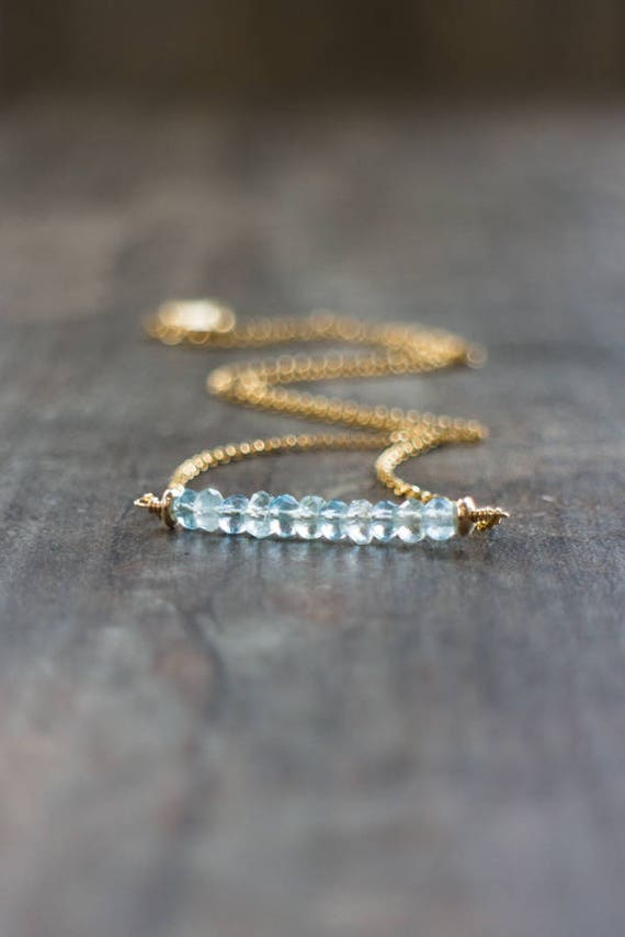 Aquamarine Bar Necklace - March Birthstone