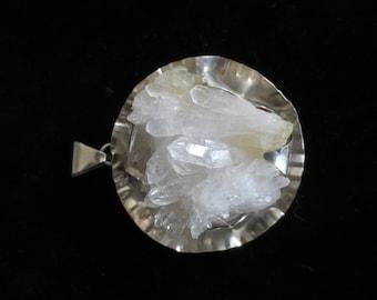 Large Crystal Quartz Sterling Silver Pendant