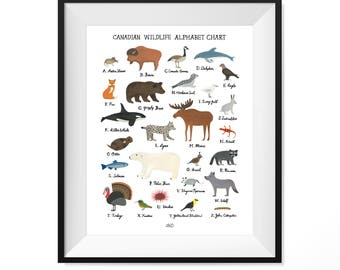 Canadian Wildlife Alphabet Chart
