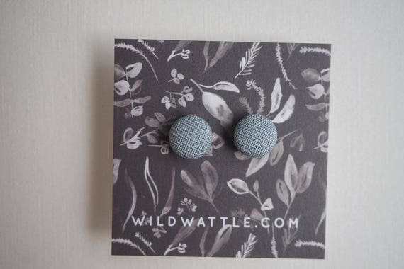 Linen X Wattle Studs in Dusty Blue