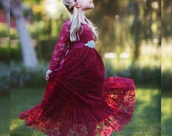 Burgundy lace flower girl dress, girls lace dresses,baby girl dress, long sleeve ,country,Red Christmas, Cranberry Rustic flower girl dress,
