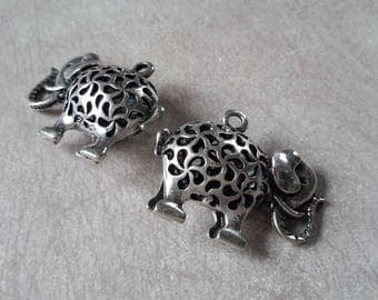 1 pc large pendant elephant ethnic pendant, silver - 34 x 26 mm