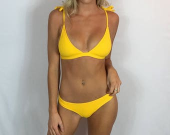 "Small Brazilian Bikini Set Burnt Yellow Swimsuit ""Layla"" Waffled Strappy Bathing Suit Set Swimwear Cheeky Bottom Pepper Blackwood Halter Top"