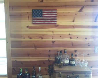 Rustic Wooden American Flag - Small/Light