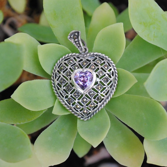 Heart pendent - Women pendent - Vintage pendent - Amethyst pendent - Marcasite pendent - Love pendent - Woman pendent - Silver pendent