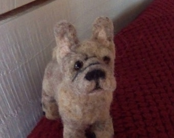 Needle felted French Bulldog miniature