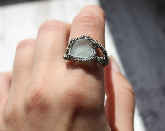 Seaglass ring, light blue ring, wire ring, natural ring, witch ring, turquiose glass ring, sea glass jewelry