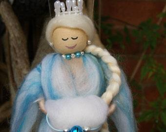 Elsa. Wool Felt Princess. Wool felt Fairy. Winter Wool Fairy. Magical Fairy. Snow Fairy. Magical Winter Fairy. Merino Winter Fairy