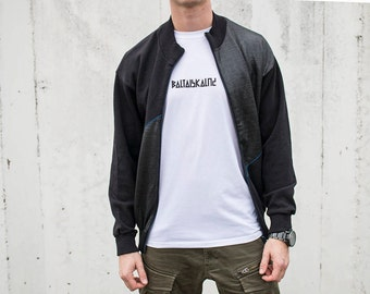 90s track jacket. Mens vintage workout jacket. Streetwear zip up bomber jacket size M Medium