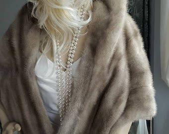 Luxury Vintage EMBA ARGENTA  Mink Fur Stole - Natural Grey Mink Cape - Real Mink Fur Shawl Wrap - Coat - Shrug - Jacket Bolero -Gatsby Bride