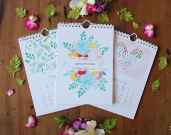 2018 floral calendar, 2018 wall calendar, A5 calendar,  new year gift, flower lover gift