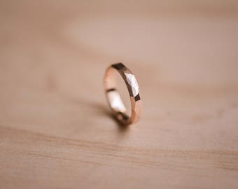 Solid Rose Gold Faceted Ring