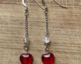 Heart earrings, Valentine earrings, Beaded earrings