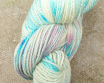 First Frost, hand dyed BFL high twist fingering yarn