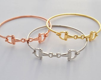 Snaffle Bit Bracelet in Rose Gold, Gold, and Silver