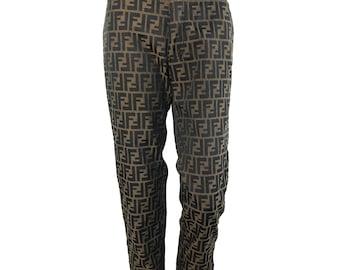 FENDI Zucca Jeans Vintage 1990s High Waist Monogram Print Pants Logo FF Trousers Size 27
