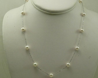 Akoya White Round Pearl Tin Cup Necklace 14k White Gold Chain 18 Inches