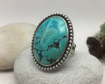 Turquoise Ring, Size 7, Sterling Silver, Statement Ring, December Birthstone, Sagittarius, Boho, Hippie, Gypsy