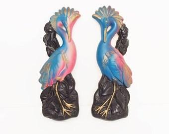 Miller Studio Chalkware Tropical Birds, 1969 Chalkware Plaster Paris