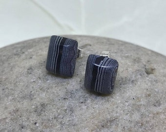 Fordite Stud Earrings, Sterling Silver Post Studs, Small Striped Rectangles, Black and White, Detroit Agate, Motor City Agate