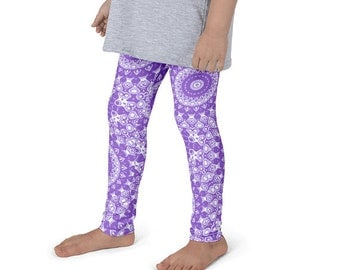 Leggings Girls Amethyst Yoga Pants for Kids, Purple and White Children's Activewear