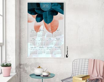 Large Wall Calendar 2018, Yearly Printable, Modern Poster, Pink Blue, Botanical Leaves, Digital Download, Trending, Christmas Gift for Mom