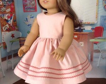 Dusty peach spring dress, Rick rack trimmed dress, cotton dress, Easter dress, gathered skirt dress, pastel dress, Kona cotton dress,