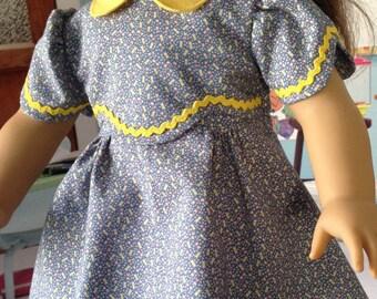 1930's school dress, blue dress with yellow trim, depression era dress, historical school dress