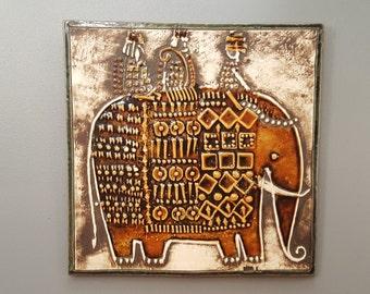 Lisa Larson Wall Plaque - UNIK Elephant / Elefant - Gustavsberg - 1970s - FREE SHIPPING (V146)
