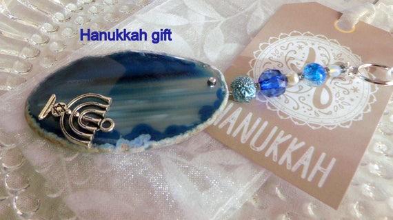 Hanukkah gift - deep blue gem stone - menorah charm - Jewish holiday gift - geode slice - agate pendant - Judaic gift - sun catcher