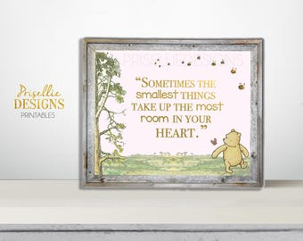 Classic Winnie the Pooh Nursery Quote Sign, Winnie the Pooh Printable Welcome Sign, Winnie the Pooh Pink Personalized Printable Sign