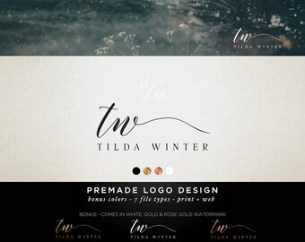 Premade Logo Design - Modern Calligraphy Font - Handwriting Signature Logo - Custom Logo - Modern Minimalist - Classy Feminine Initials 10