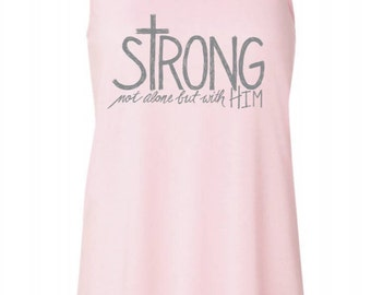 Pre-Order Women's Flowy STRONG with Him Soft Pink Racerback(8800)