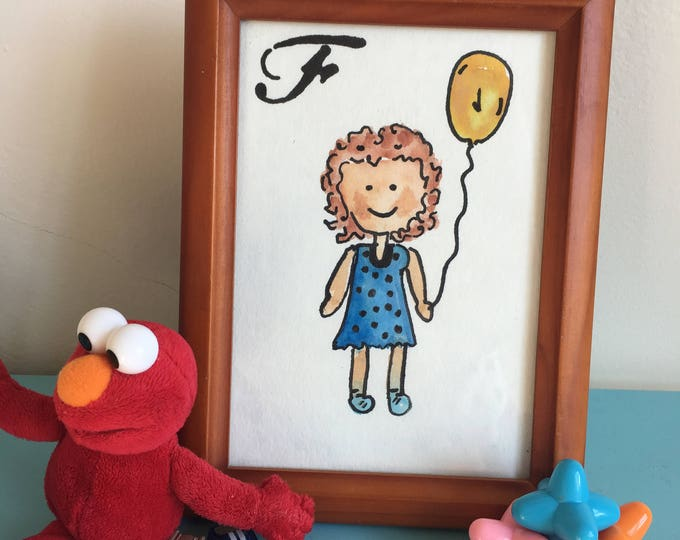MINI Custom Watercolor Character Portrait- Kiddie Mini, Child and Balloon, Kid Art, Playroom Art, 5x7''