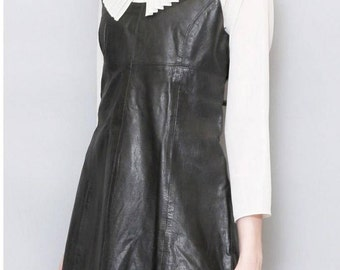 Vintage 1980s Black Leather A Line Mini Dress