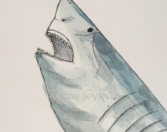 Great White Shark - Watercolour and Ink Nautical Fish Illustration - Limited Edition (20) A3 Art Print - Jaws