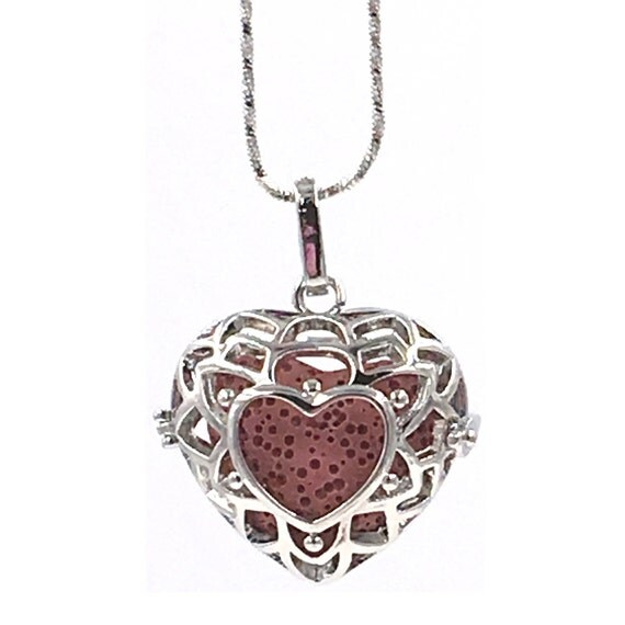 Valentines Gift, Essential Oil Diffuser Necklace, Lava Bead Necklace, Silver heart locket, Red lava heart, Aroma bead, essential oil jewelry