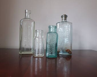 Antique Clear Glass Bottles, Collection of Old Bottles, Set of Four