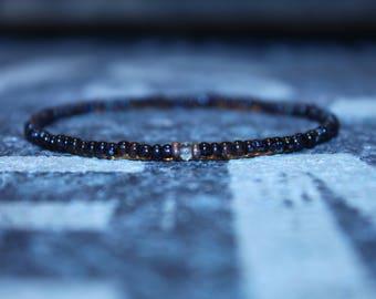 Men's Bracelet with Citrine - Men's Beaded Bracelet, Mens seed Bead, Mens gift for him Husband Gift