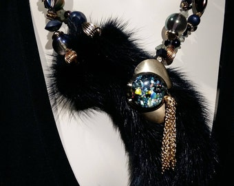 Big and bold necklace,Statement Blue Black mink tail choker, aurora borealis glass beads and real fur