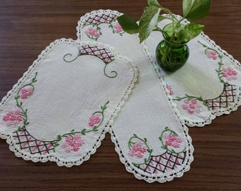 Embroidered Doily Set, Vintage Doilies, Pink Flowers, Rectangles & Runner, Three Piece Table Toppers