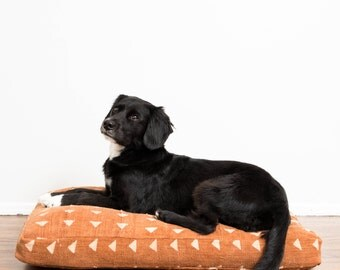Rust Mudcloth Dog Bed // Extra Large XL