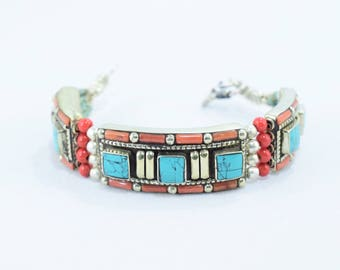 Ethnic Tibetan coral bracelet, turquoise squares navajo boho estyle