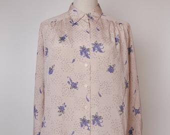 Pink Women Vintage Blouse Violet Flower Print 1980s Long Sleeves Size M